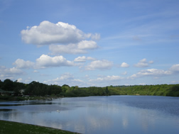 Looking across the lake to the beach at Ruislip Lido